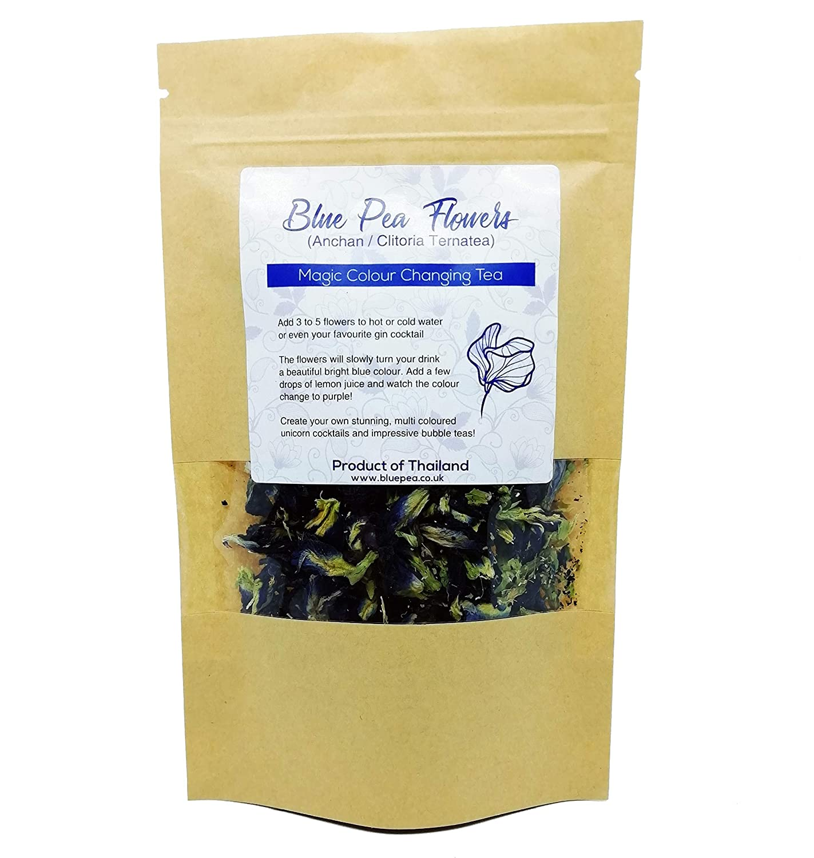 GOOD ACTIVE Dried Blue Butterfly Pea Flower Clitoria ternatea Herbs Herbal Healthy Tea Drink Recipes Food Coloring Antioxidants Aging Wrinkles 2lbs, wholesales Bulk Buy
