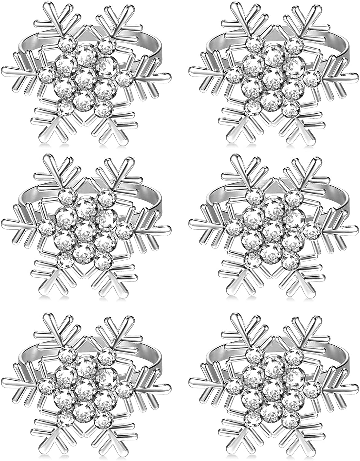 COOLPEEN Napkin Rings, Snowflake Napkin Holders, Table Napkins Round Serviette Buckles Decoration Favor for Wedding Dining Kitchen Decor Holiday Birthday Christmas Party (6 Pack, Silver)