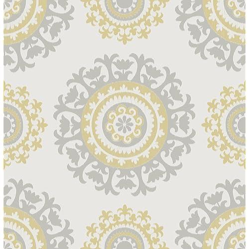 Grey And Yellow Suzani Peel Stick Wallpaper