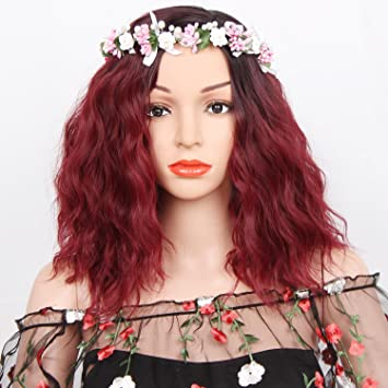Synthetic Short Red Ombre Wig Water Wave Black And Red Ombre Wigs For Black Women Dark Roots Heat