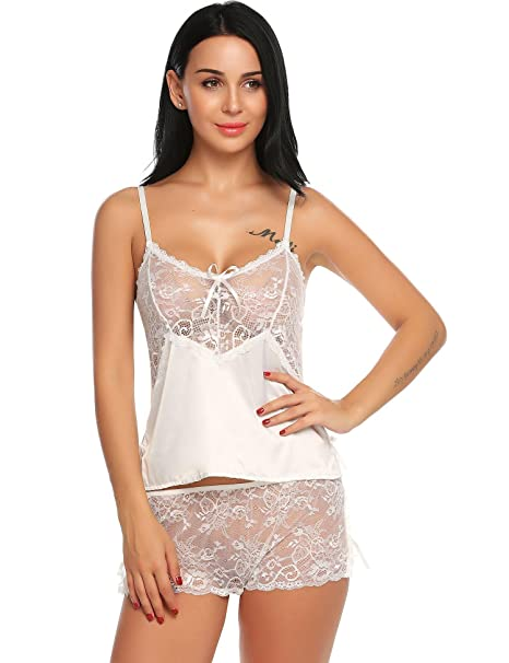 6414a317d37 Asatr Sexy Lingerie Lace Sleepwear Satin Nightwear Pajamas Camisole Shorts  Set (White S)
