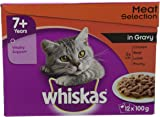 WHISKAS 7+ Cat Pouches Meaty Selection in Gravy 12 x 100 g- Pack of 4(total 48 pouches)