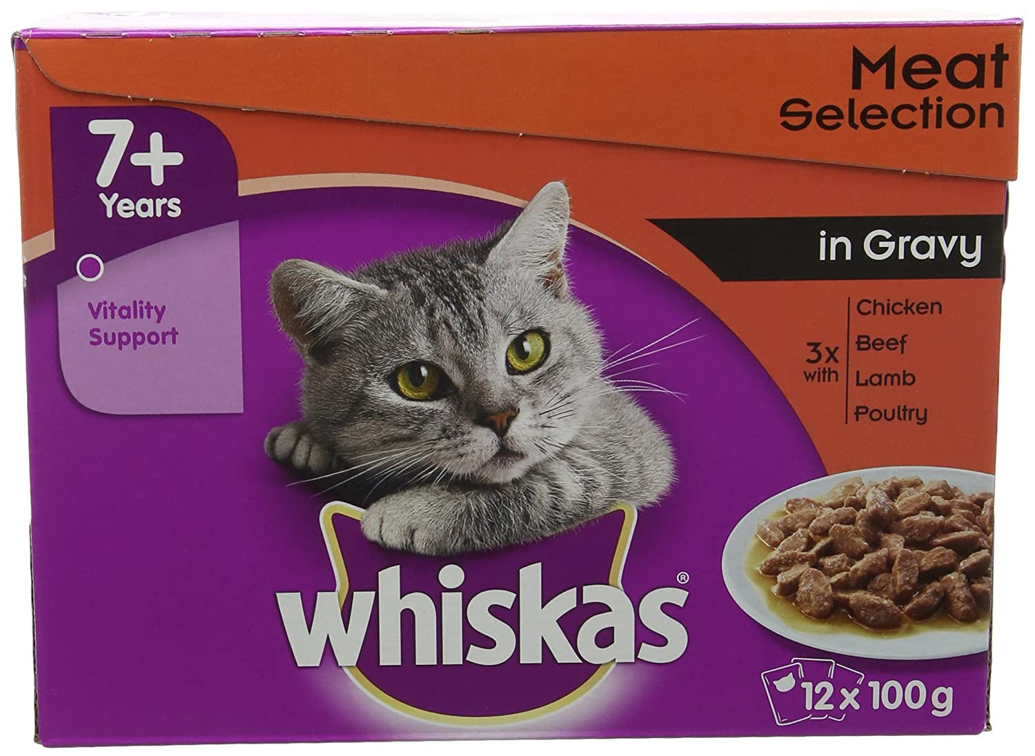 Whiskas 2-12 Months Kitten Pouches Poultry Selection in Gravy 12 x 100 g Yes