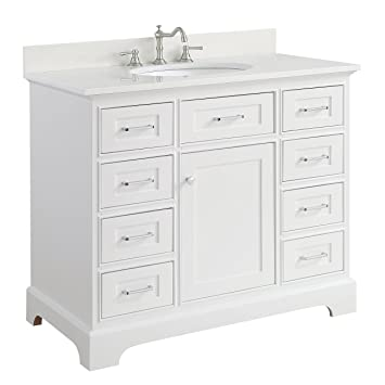 Aria 42 Inch Bathroom Vanity (Quartz/White): Includes A White Cabinet