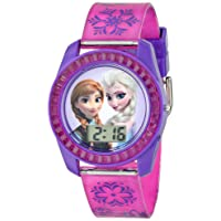 Frozen Kids' Digital Watch with Elsa and Anna on the Dial, Purple Casing, Comfortable Pink Strap, Easy to Buckle, Safe for Children - Model: FZN3598