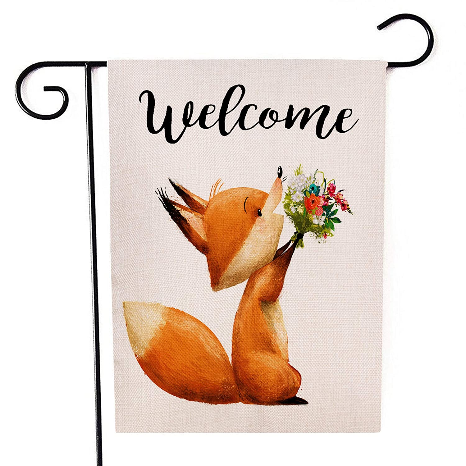 Welcome Garden Flag Cute Little Fox with Floral Bouqet Double Sided Decorative Small Yard Decor Flags 12 X 18 Inch