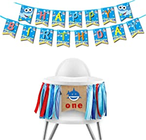 Baby Shark 1st Birthday Party Decoration Pack Includes 1 Baby High Chair Ribbon Banner and 1 Shark Baby Happy Birthday Banner Shark Themed First Birthday Party Supplies by 7 Colors Kids