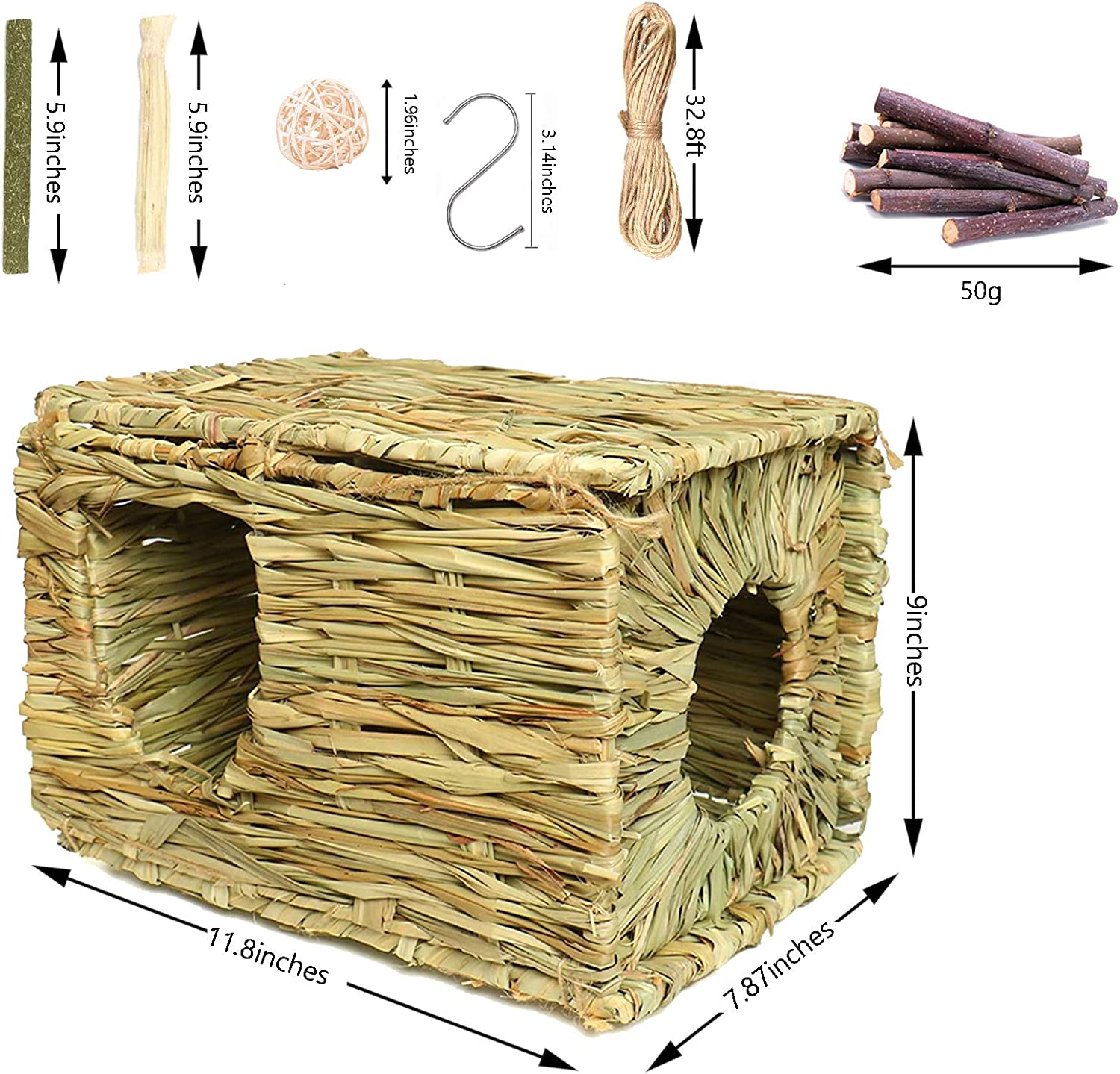 Guinea Pigs Chinchillas Gerbils Squirrels Edible Grass Hideaway VCZONE Bunny Grass House with 2 Grass Mat /& Play Balls Activity Toys for Rabbit Foldable Toy Hut with Openings