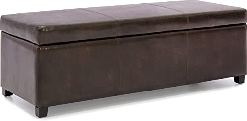 Best Choice Products Large Tufted Rectangular Leather Storage Ottoman Bench – Brown