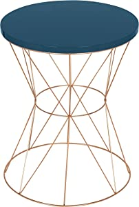 Kate and Laurel Mendel Round Metal End Table, Blue Top with Rose Gold Base
