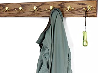 """product image for PegandRail Oak Wall Mounted Coat Rack with Solid Brass Dual Style Hooks 4.5"""" Ultra Wide (Chestnut, 30.5 x 4.5 with 6 Hooks)"""