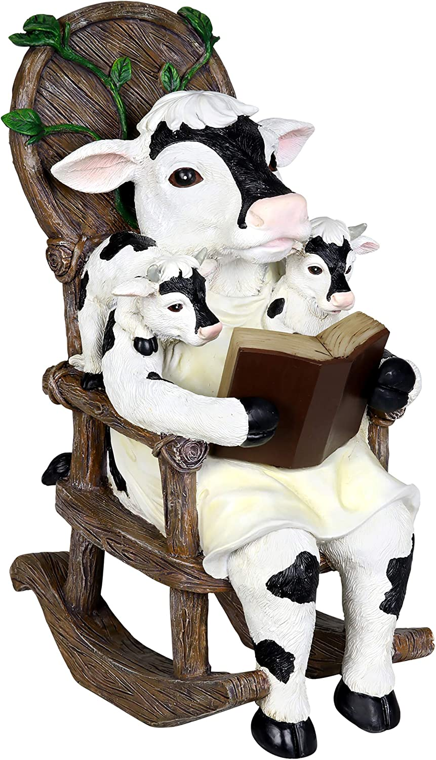 """Exhart Solar Cow Family Reading a Book on a Rocking Chair Garden Statue – Bookworm Cows Mini Figurine w/Solar LED Lights, Booklovers Cow Statue, Resin Cow Decorations, 5.9"""" L x 7.9"""" W x 12"""" H"""