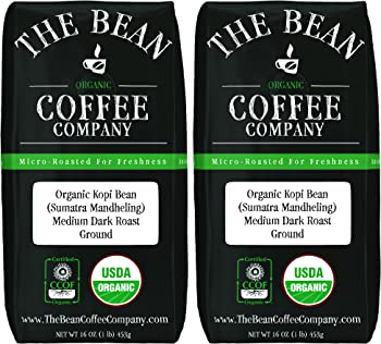 2-Pack The Bean Coffee Company Organic Kopi Bean 16-Ounce Bags