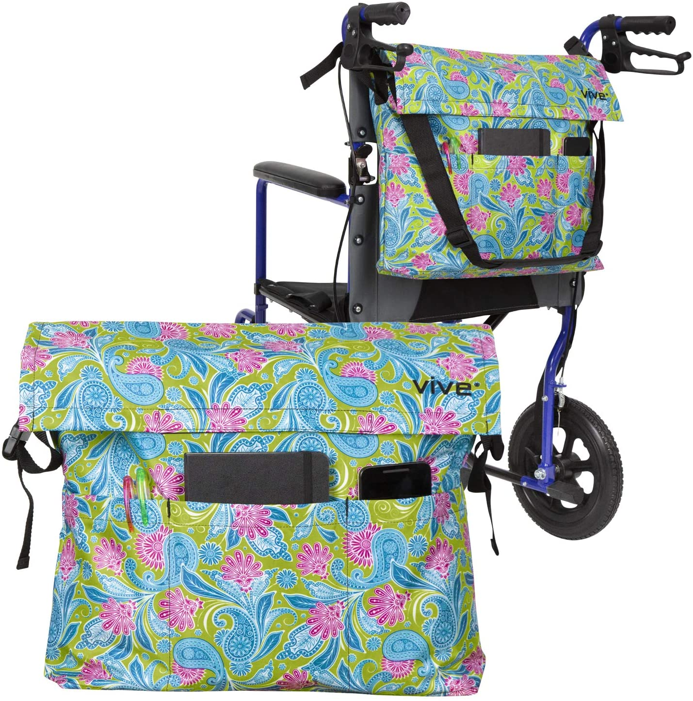 Vive Wheelchair Bag - Wheel Chair Storage Tote Accessory for Carrying Loose Items and Accessories - Travel Messenger Backpack for Men, Women, Handicap, Elderly - Accessible Pouch and Pockets: Health & Personal Care