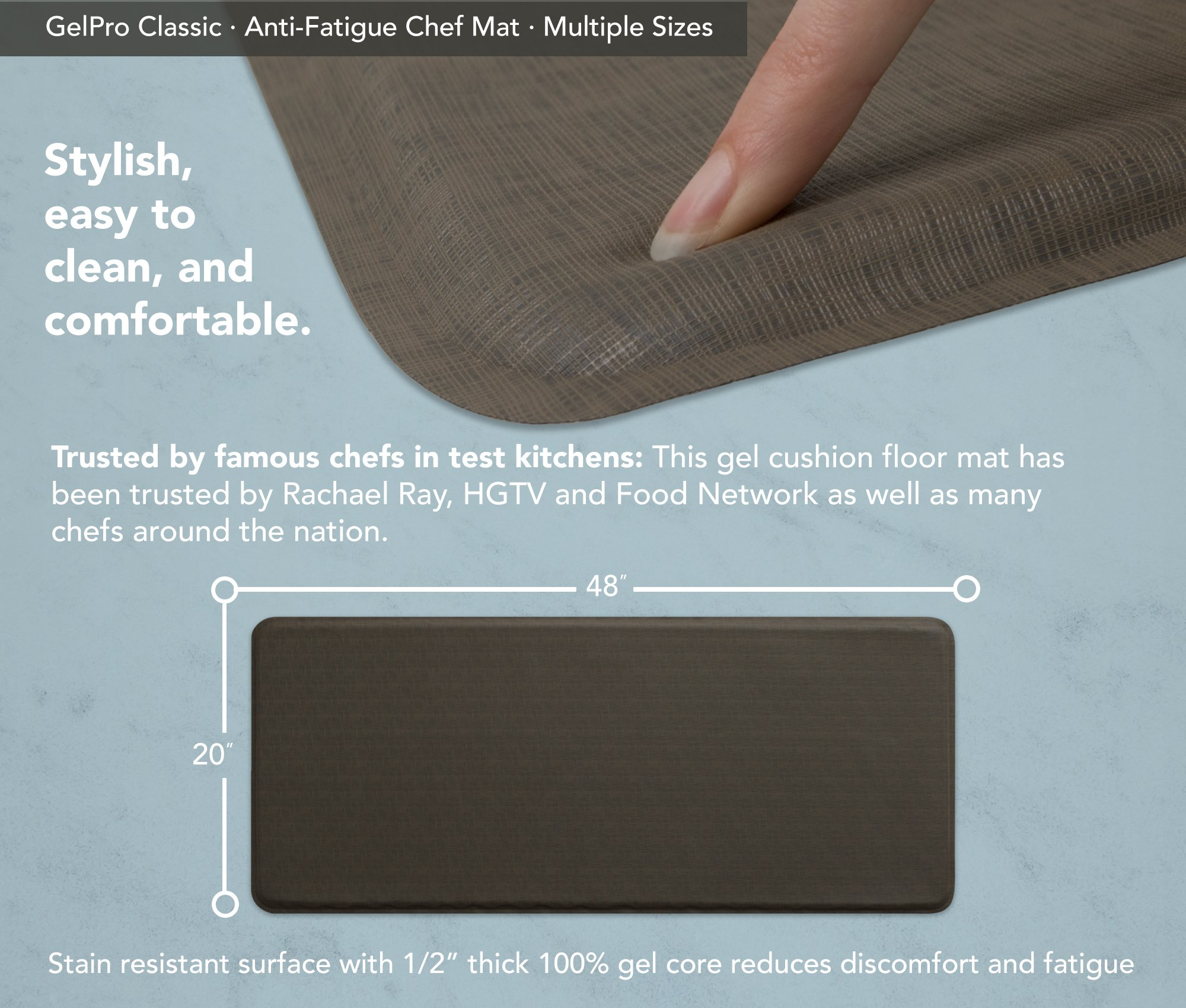 "GelPro Classic Anti-Fatigue Kitchen Comfort Chef Floor Mat, 20x48"", Linen Granite Gray Stain Resistant Surface with 1/2"" Gel Core for Health and Wellness by GelPro (Image #3)"