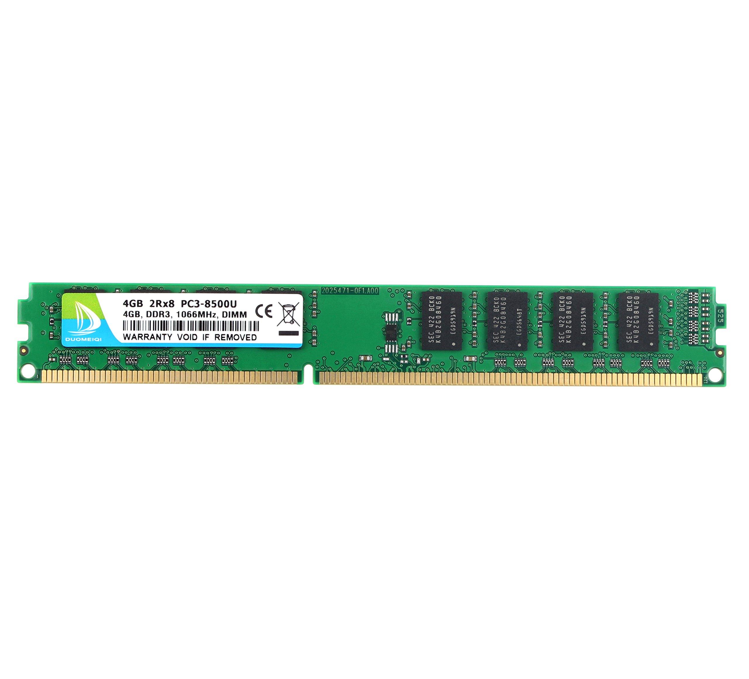 DUOMEIQI 4GB DDR3 1066MHz UDIMM 2RX8 PC3-8500 240pin CL7 1 5v Unbuffered  Non-ECC Desktop Memory RAM Module for Intel AMD System