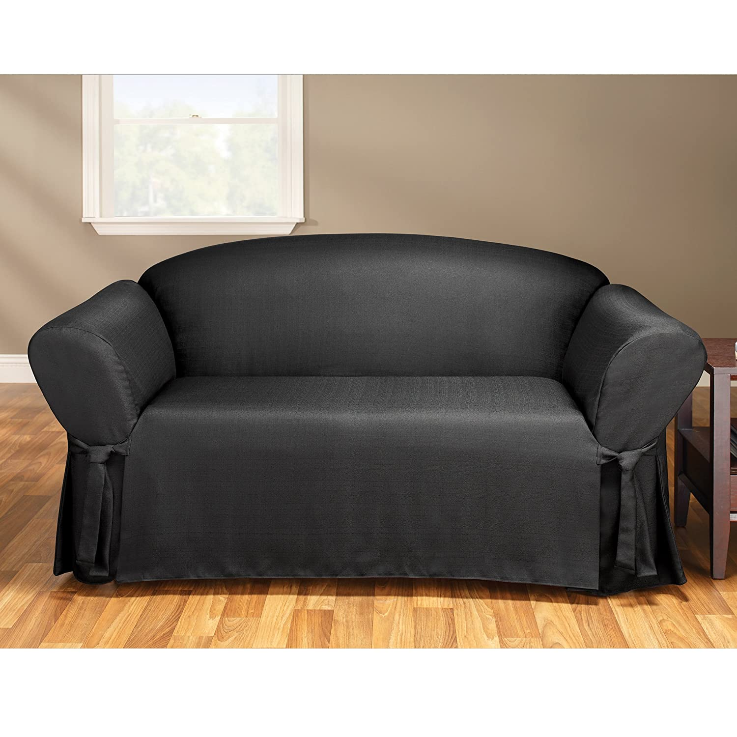 Amazon Sure Fit Mason 1 Piece Loveseat Slipcover Ebony