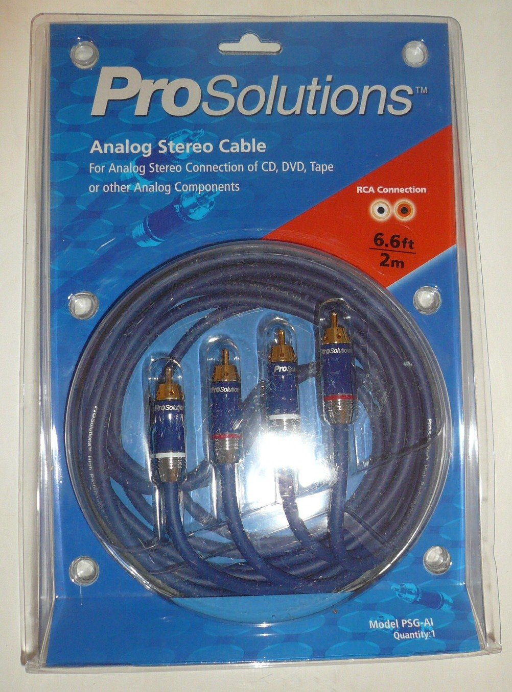 Amazon.com: Prosolutions 2m 6.6ft Analog Stereo Audio Cable - Rca ...