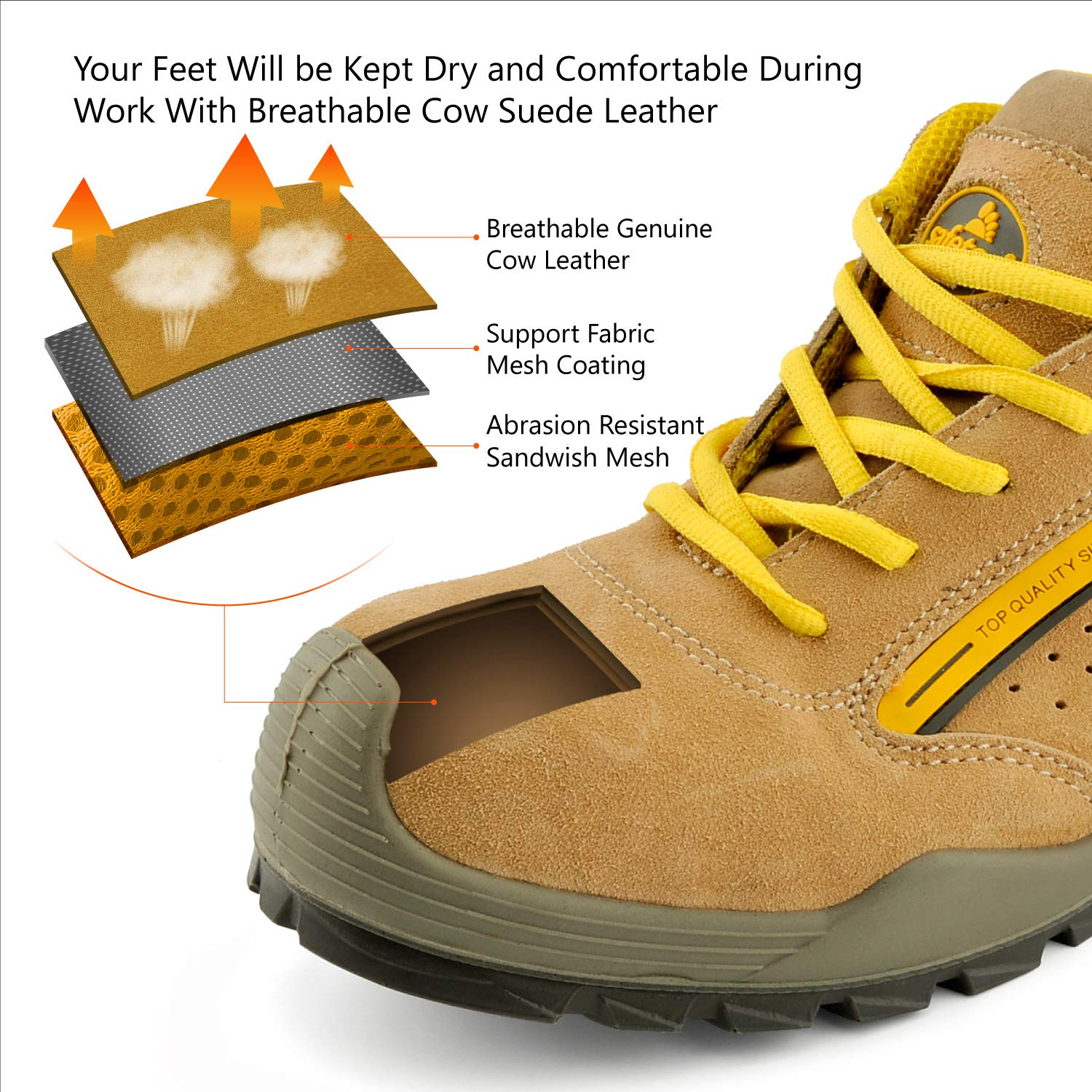 L7296 Leather /& Steel Toe Work Boots for Heavy Duty Work Wide Fit SF7296YE SAFETOE Mens Safety Work Shoes