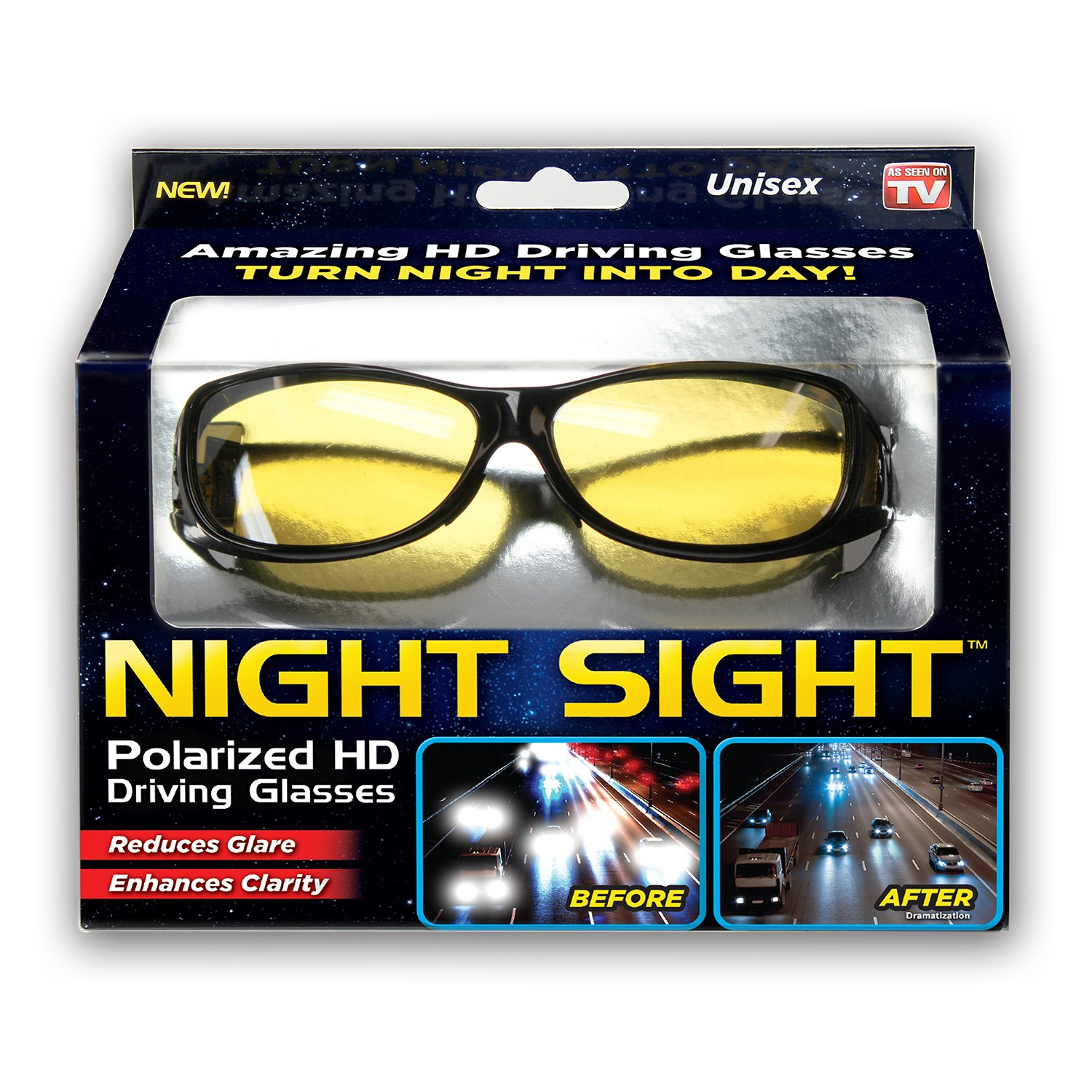 Ontel Night Sight | HD Polarized Night Vision Driving Sunglasses | Men and Women, Anti Glare, Scratch Resistant, Stylish, As Seen on TV NS-MC12/4