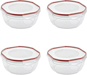 Sterilite 03948604 Ultra-Seal 4.7 Quart Bowl, Clear Lid & Base with Rocket Red Gasket, 4-Pack