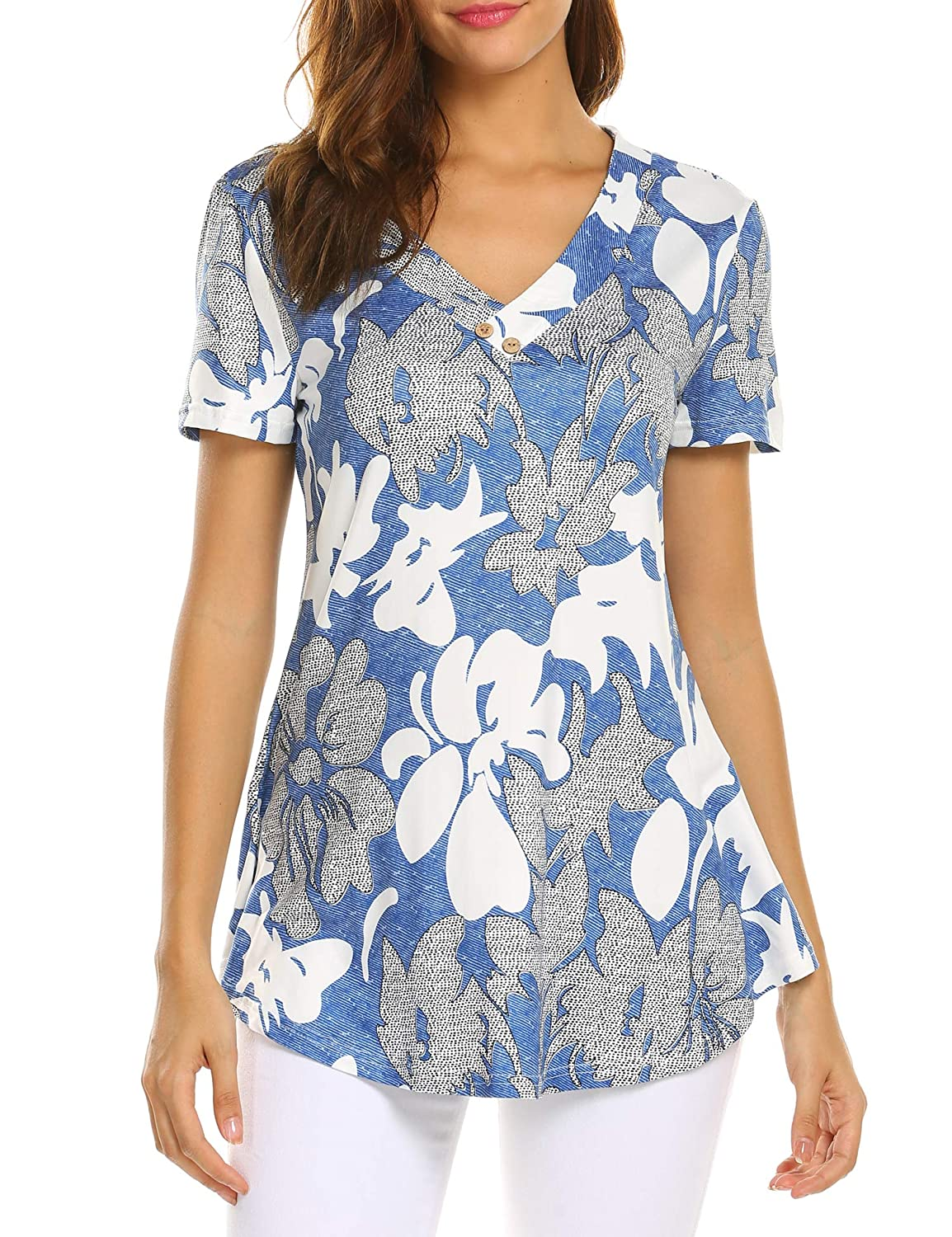 Abluee Sweetnight Women Floral Print V Neck Button Decor Peasant Summer Swing Tunic Tops Shirts