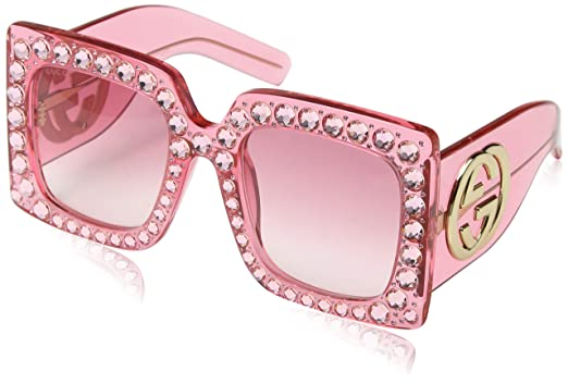 4d07ab3d592ee Amazon.com  Sunglasses Gucci GG 0145 S- 001 PINK    Clothing