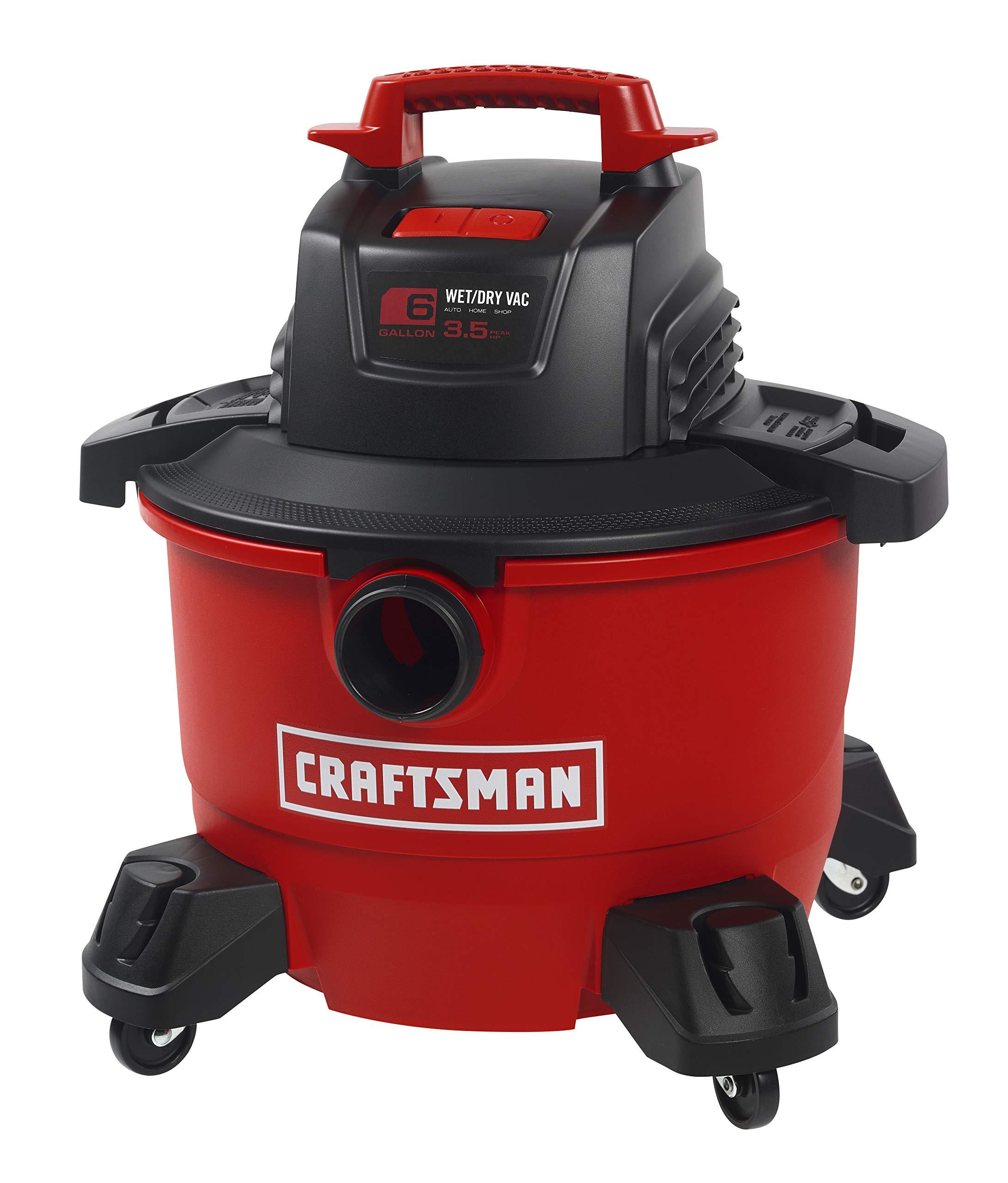 CRAFTSMAN 17584 6 Gallon 3.5 Peak HP Wet/Dry Vac, Portable Shop Vacuum with Attachments