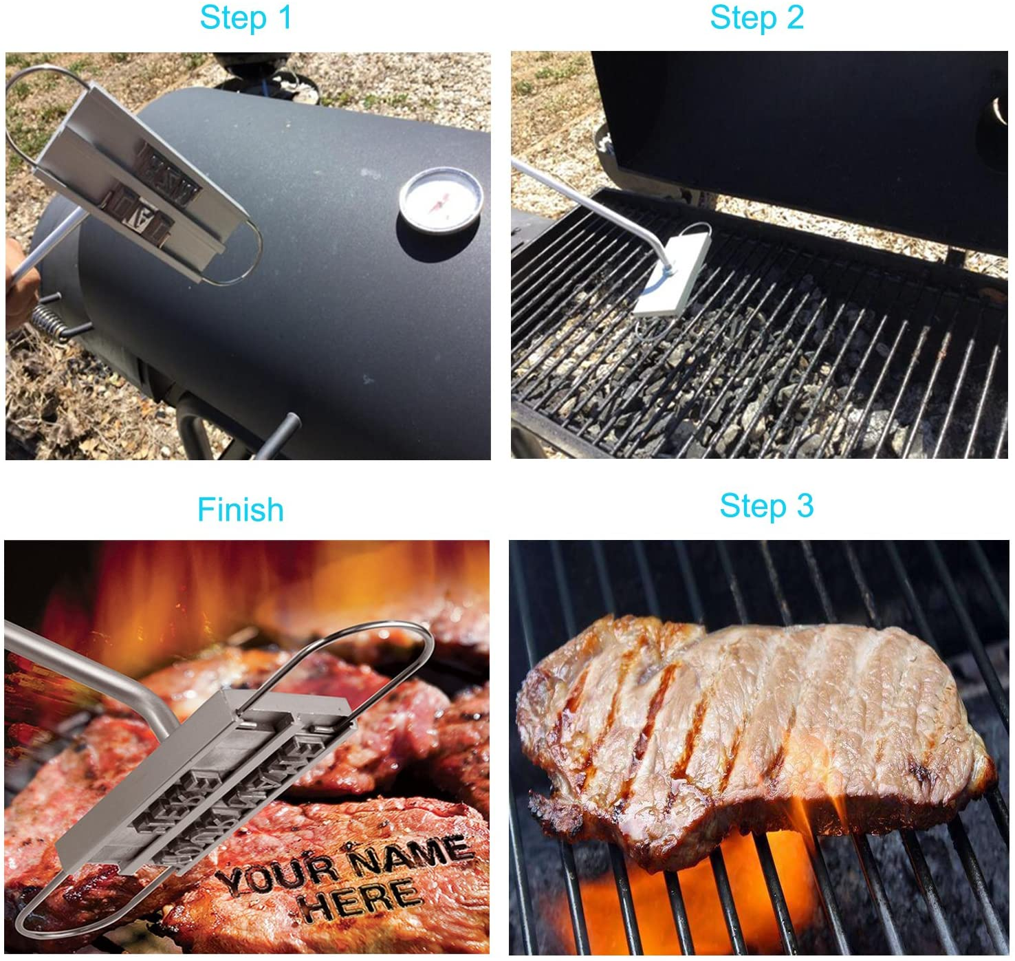1xOutdoor Travel Camping PortableBarbecue Grill with Burned Letters New Z