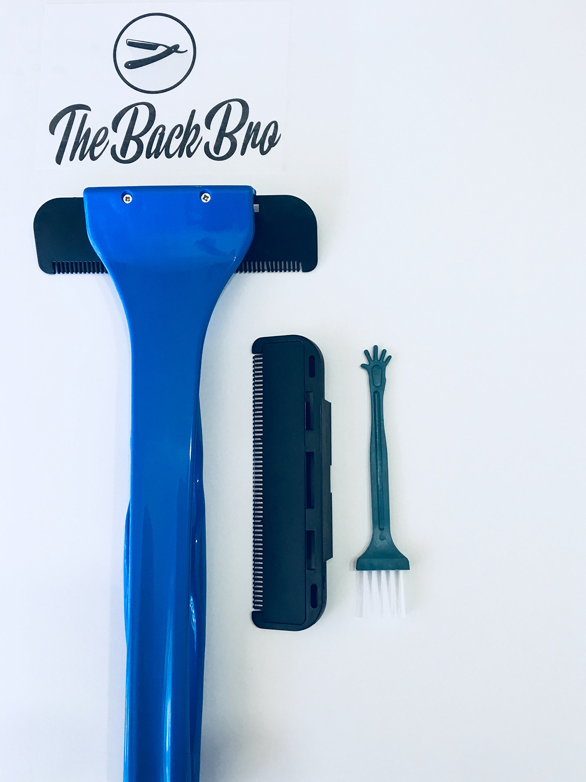 Back Hair Shaver {The Back Bro} Back Hair Removal Kit, Ergonomically Design 17'' Handle For Hard -to -Reach Areas, Lil Bro Cleaning Brush and 1 Replacement Blade, (Blue)