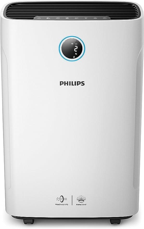 Philips Humidificador y - Purificador de aire (80 m², 9 h, 600 ml ...