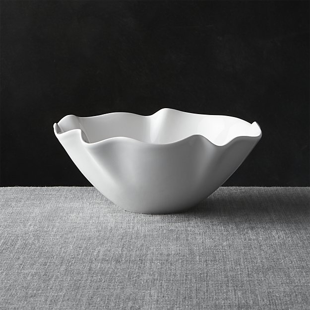"""White Ruffle 11"""" Small Bowl 