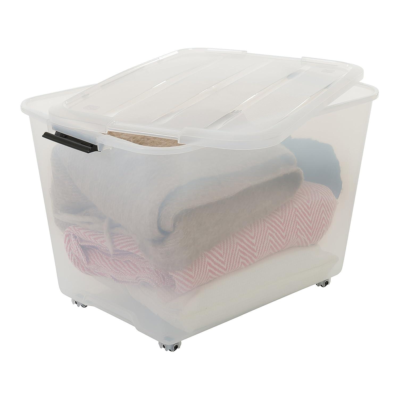 plastique Iris Ohyama Top Box Roller set TBRH-60 60 L transparent 3 bo/îtes de rangement sur roulettes avec couvercle pliable 57,5 x 39 x 38,5 cm