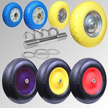 Rueda de poliuretano con eje de 20 mm, con rodamiento de bolas para carretilla o carro, diferentes modelos y colores: Amazon.es: Bricolaje y herramientas