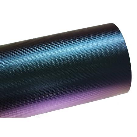 Finest Folia (10,56€/m²) BS05 3D Chamäleon Blau Carbonfolie BLASENFREI Luftkanäle Auto Folie (Muster 10 cm x 10 cm)