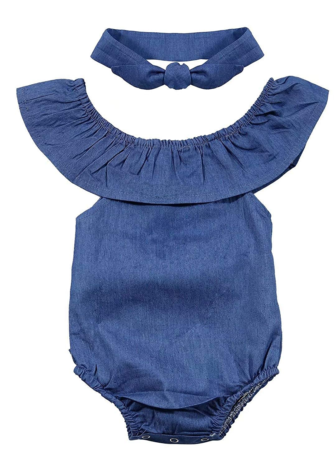 Newborn Baby Girls Front Bowknot Denim Bodysuit Ruffle Turn Down Collar Sleeveless Romper