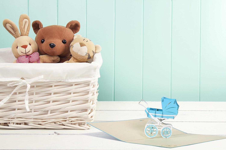 Pop Up Karte mit blauem Kinderwagen aus Papier Baby Shower Boy G13.2 Glueckwunschkarte zur Geburt
