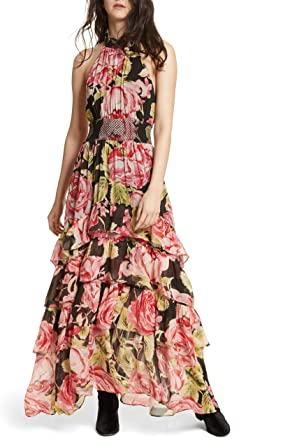 ffd76c0c54f Free People Womens Tiered Floral-Print Maxi Dress Pink XS at Amazon ...