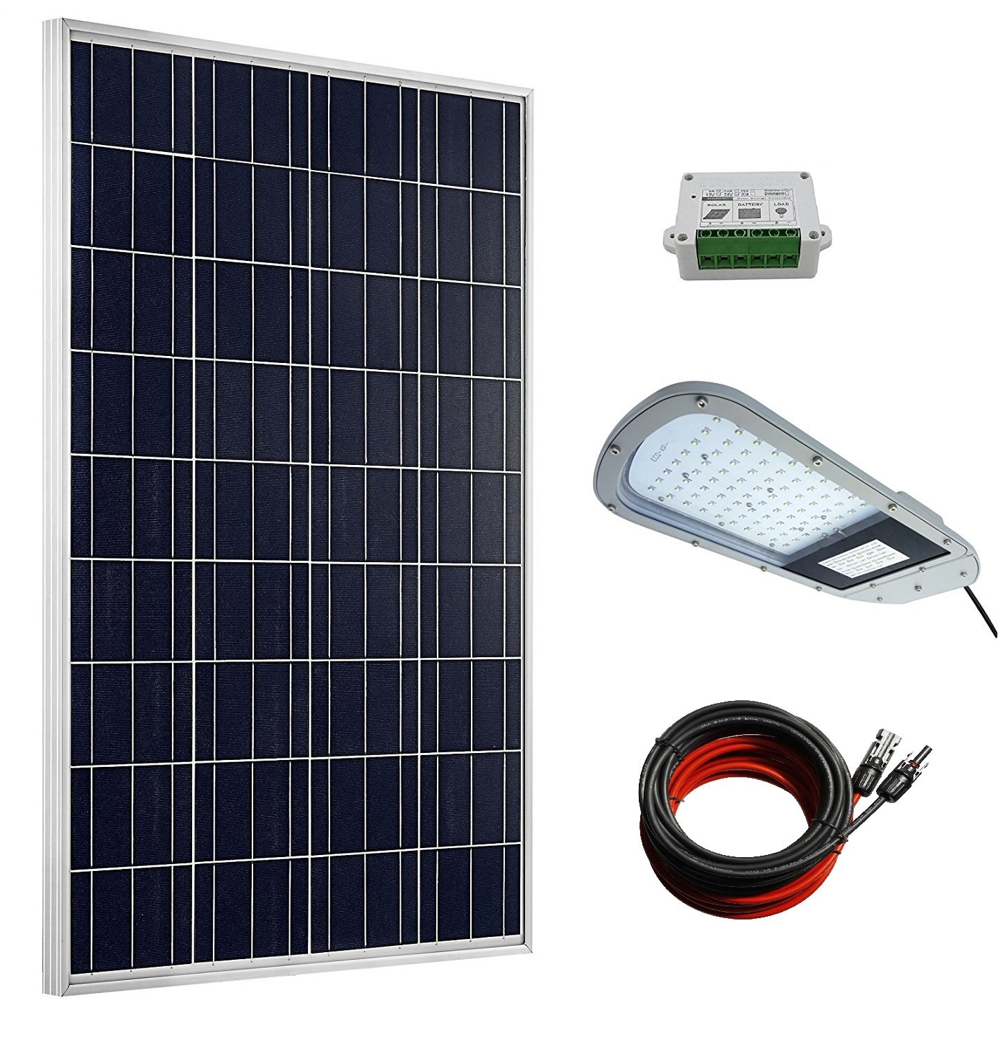 Eco Worthy 100 Watts Poly Solar Panel 20w 12v Led Street Light Circuit Lights India Lighting 15a Charge Controller 2pcs 16ft Cable Adapter For Commercial Area