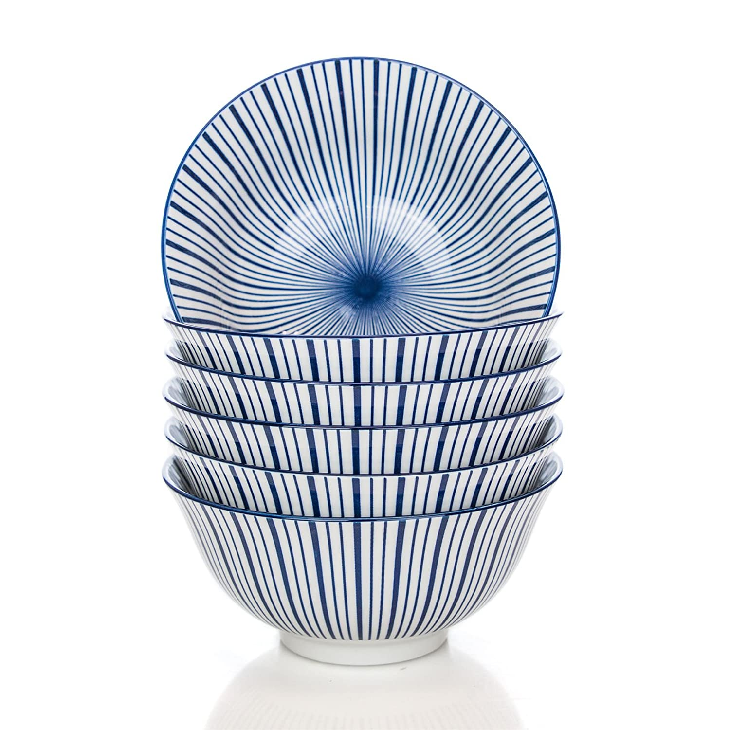 Stripe Design Patterned Porcelain Cereal Bowls - Blue / White - 153mm (6 Inches) - Pack of 6 Nicola Spring
