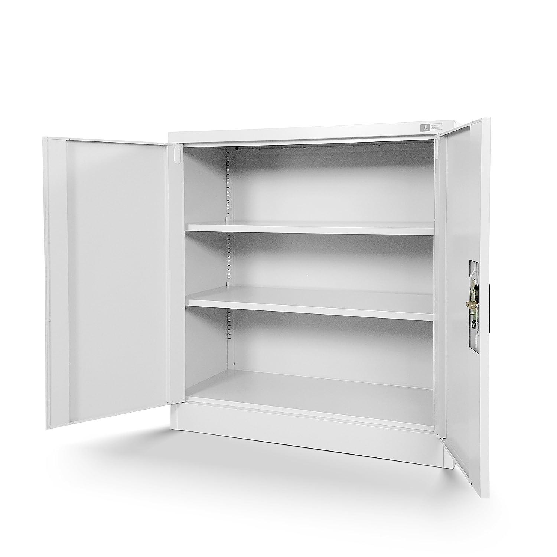 Kleiner Aktenschrank C001B Büroschrank mit Flügeltüren Metallschrank ...