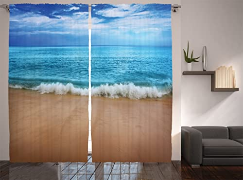 Turquoise Curtains by Ambesonne, Andaman Islands and Calm Sea Soft Sand Beach Summer Photography, Living Room Bedroom Window Drapes 2 Panel Set, 108 X 84 Inches, Turquoise Multicolor