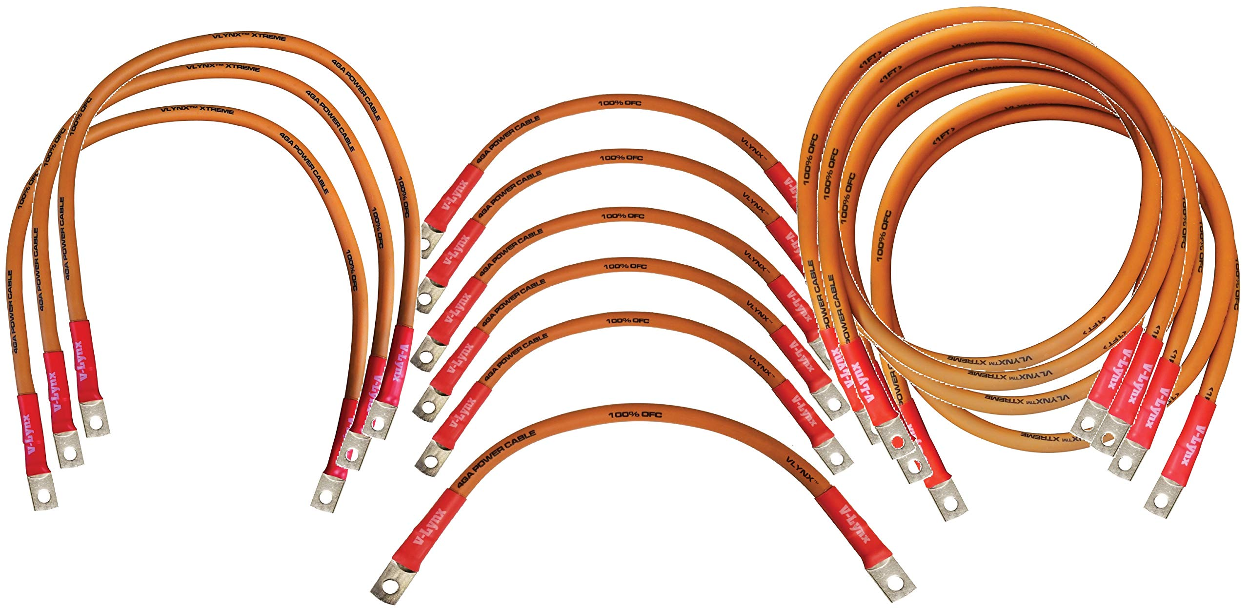 EZ GO TXT13 Golf Cart Battery Cable 13 Piece Kit 4-AWG (5)9''+(1)12''+(3)26''+(4)48'' 4 Gauge Battery Interconnect Link Cable 100% Copper with 5/16'' hole ring terminal ends and heat-shrink. MADE IN USA