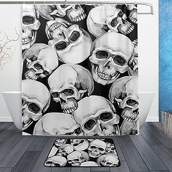 Waterproof Fabric Halloween Skull Bathroom Shower 3 Sets Of Floor Mat With
