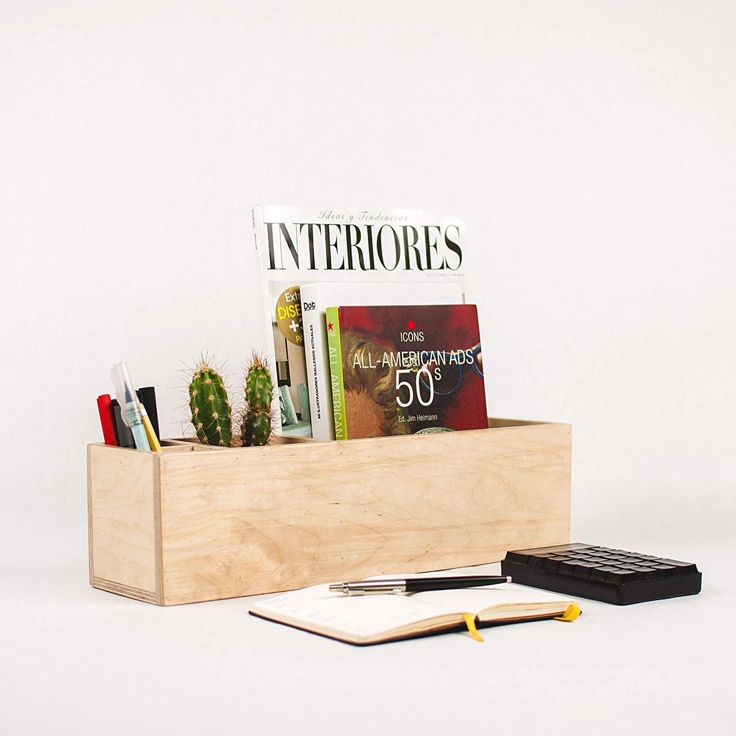 - Amazon.com: Modern Wood Desk Storage Box. Office Organizer