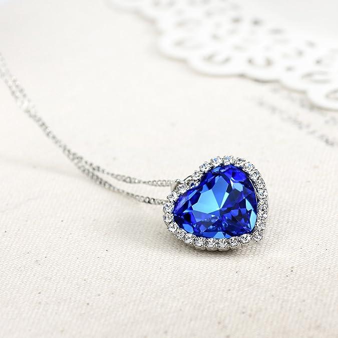 Neoglory Collar Colgante Titanic Corazón del Mar Amor Love Heart Brillante Cristal Azul y Auden Rhinestones Joya Original Regalos para Mujer: Amazon.es: ...