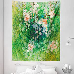 Lunarable Flower Tapestry Twin Size, Apple Blossoms on Grass with Splashes Grace Sign Elements from Nature Artwork Print, Wall Hanging Bedspread Bed Cover Wall Decor, 68 W X 88 L inches, Pink Green