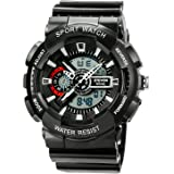 ETEVON Sport Men's Analog-Digital Chronograph Resin Strap Watch, X-Large Display Stealth Black Watch - Water and Shock Resistant