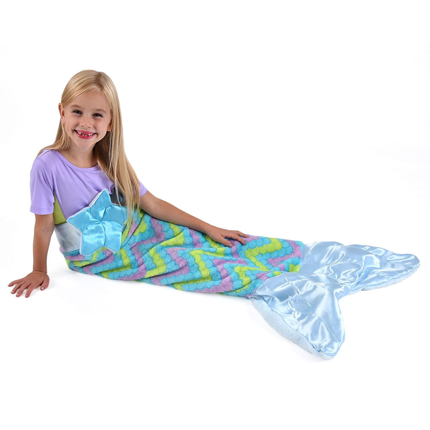 Snuggie Tails Comfy Cozy Super Soft Warm Mermaid Blanket for Kids (Blue), As Seen on TV