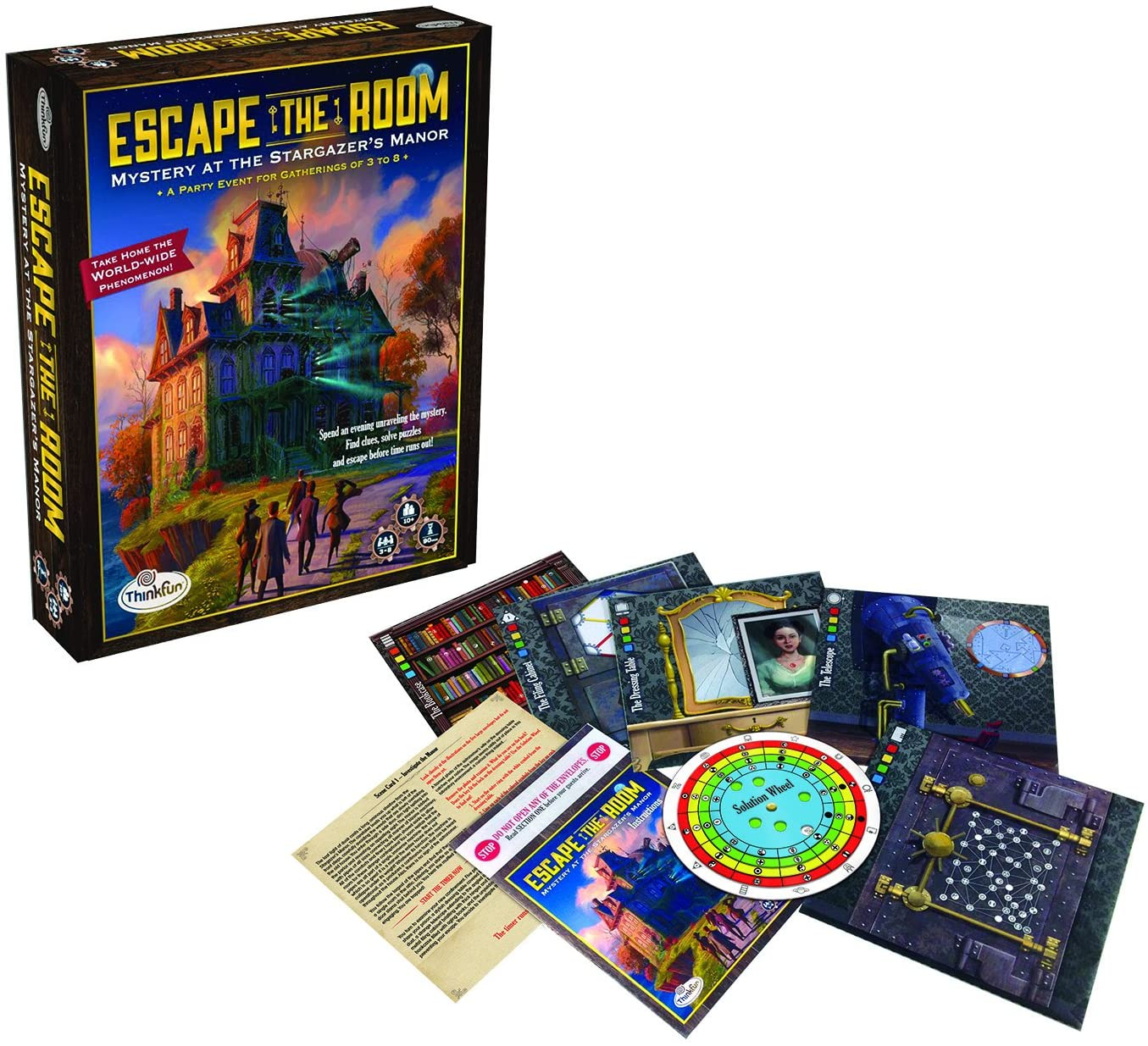 Amazon Com Thinkfun Escape The Room Stargazer S Manor An Escape Room Experience In A Box For Age 10 And Up Toys Games